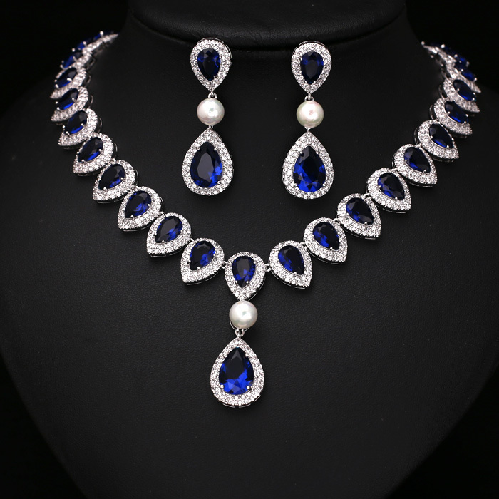 Buy fashion royal blue arrow heart with for Diamond pearl jewelry sets