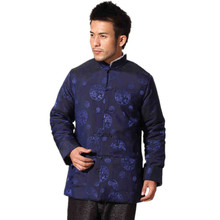 Discount Navy Blue Winter Thick Male Polyester Overcoat Chinese Cotton-padded Jacket Traditional Tang Suit S M L XL XXL XXXL(China (Mainland))