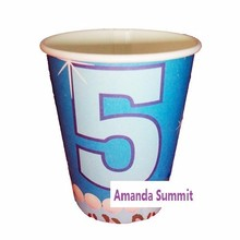 5 Years 6PCS Pink Blue Paper Cups Children Baby Girl Party Birthday Fun Decoration Drinking Supplies Favors(China (Mainland))