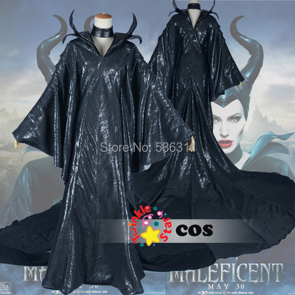 Free Shipping Customized Maleficent Evil Queen Cosplay Costume Angelina Jolie long dress Cosplay Costume(China (Mainland))