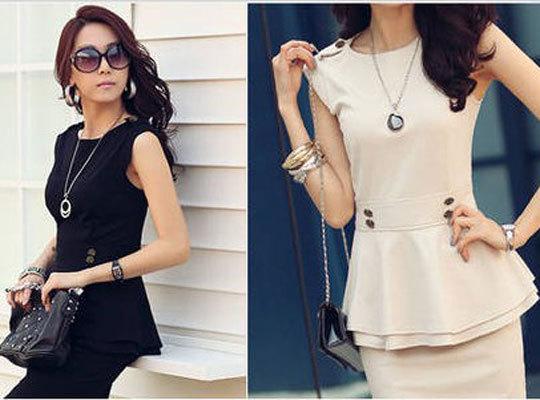 Women OL Office Lady Slim Short Cap Sleeve Peplum Blouse Tops(China (Mainland))