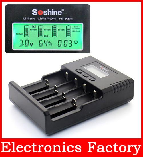 Зарядное устройство Soshine H4 LCD 26650 18650 16340 li/ion LiIFePO4 C 1.2V AA AAa NiMH new liitokala lii500 smart universal lcd li ion nimh aa aaa 10440 14500 16340 17335 17500 18490 17670 18650 battery charger