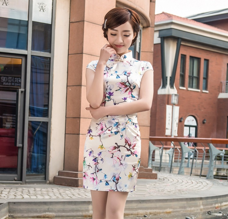 Free shipping chinese style party dress short cheongsams vintage silk cheongsam party dress sites traditional chinese qi pao 106(China (Mainland))