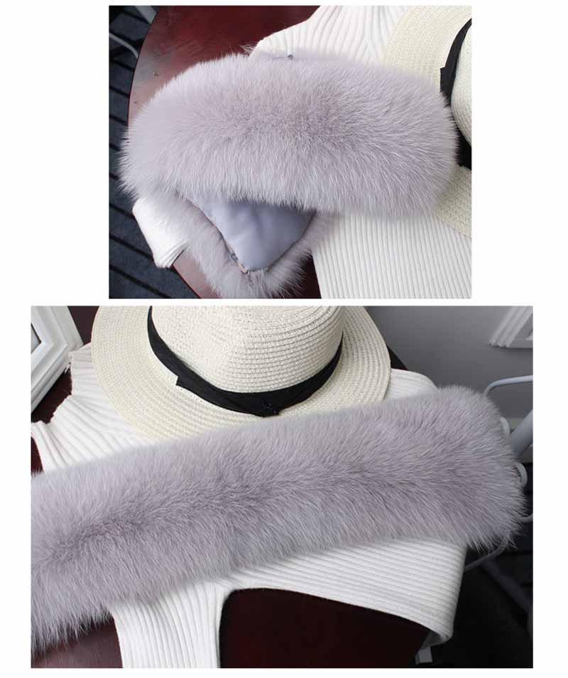 fox fur collar light grey 22