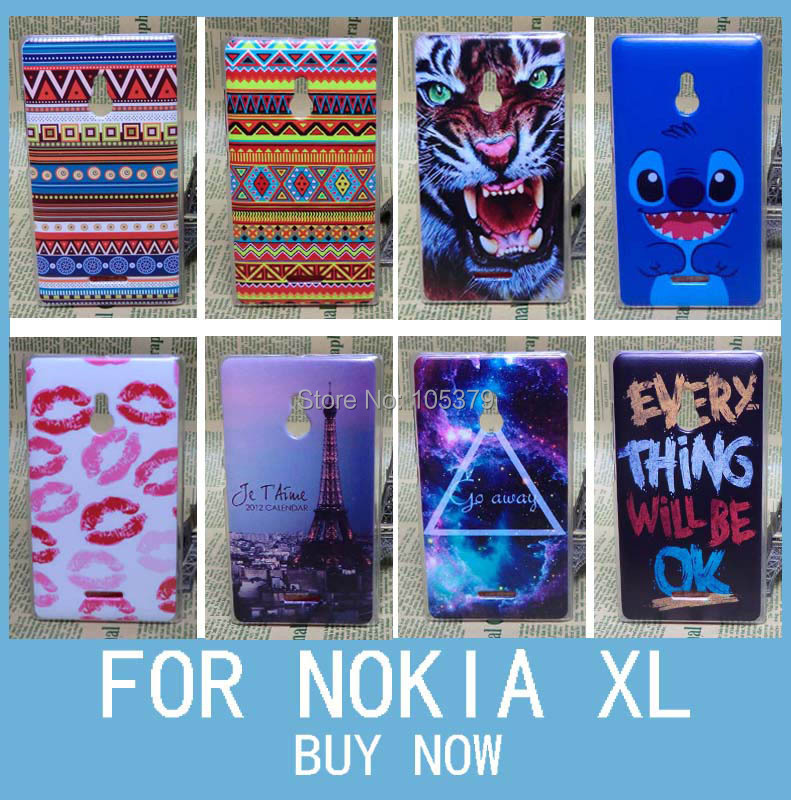 Colorful Painting Transparent Side Hard Back Case For Nokia XL(China (Mainland))