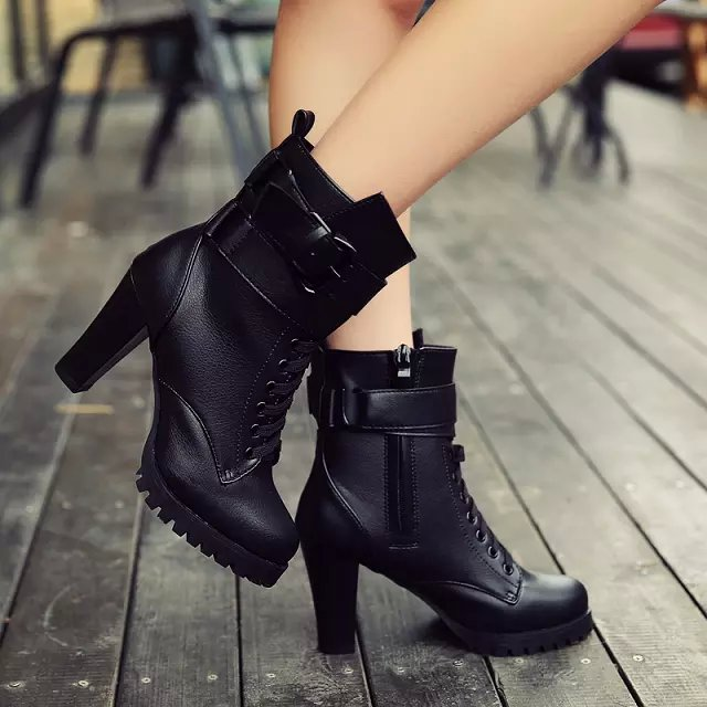 2015 Fashion Designer Newest Square High Heel Ankle Boots Women Lace Up Zipper Buckle Martins Boots Free Shipping<br><br>Aliexpress