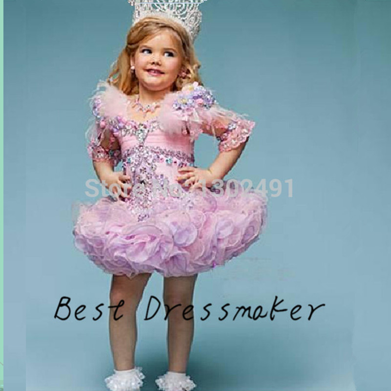 Baby Girl Toddler Pageant Gowns Graduation Dresses Kids 2016 Costume Show Dress Flowers Girl Dresses Ball Gown Ruffle(China (Mainland))