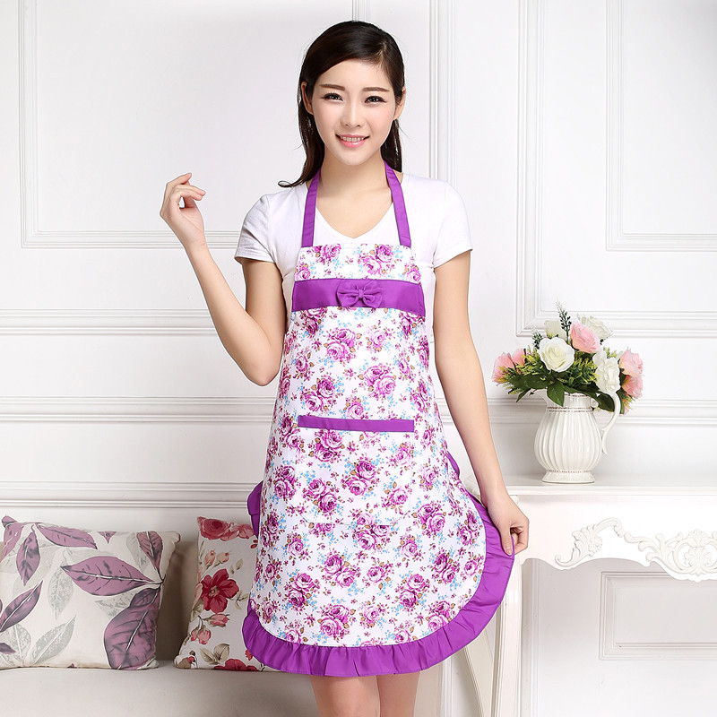 Printed Apron with pockets waterproof floral bib kitchen soil release aprons bowknot home textiles women bibs breech cloth(China (Mainland))