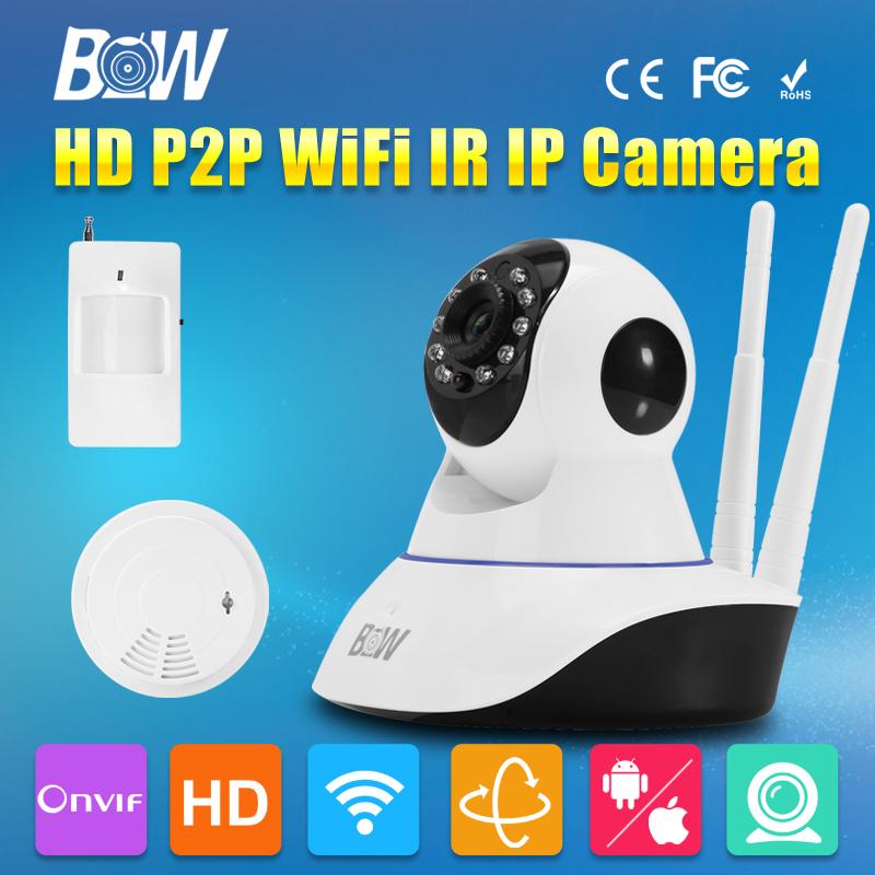 BW CMOS Onvif HD 720P Wireless Wifi Security Camera P2P Baby Monitor IP CCTV Accessory Smoke Detector Buzzer Gsm Alarm System(China (Mainland))