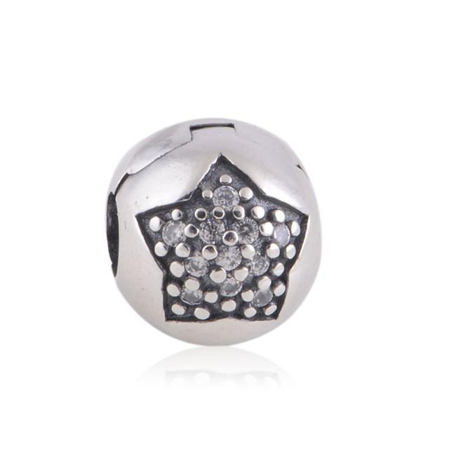 Подходит пандоры прелести браслет аутентичные 925 серебряные ювелирные изделия бусины клип пробка вымощает CZ звезда шарм DIY ювелирных изделий