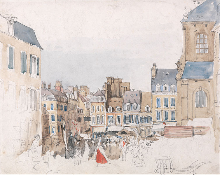 Canvas Art Prints Stretched Framed Giclee World Famous Artist Oil Painting David Cox French Market Place(China (Mainland))