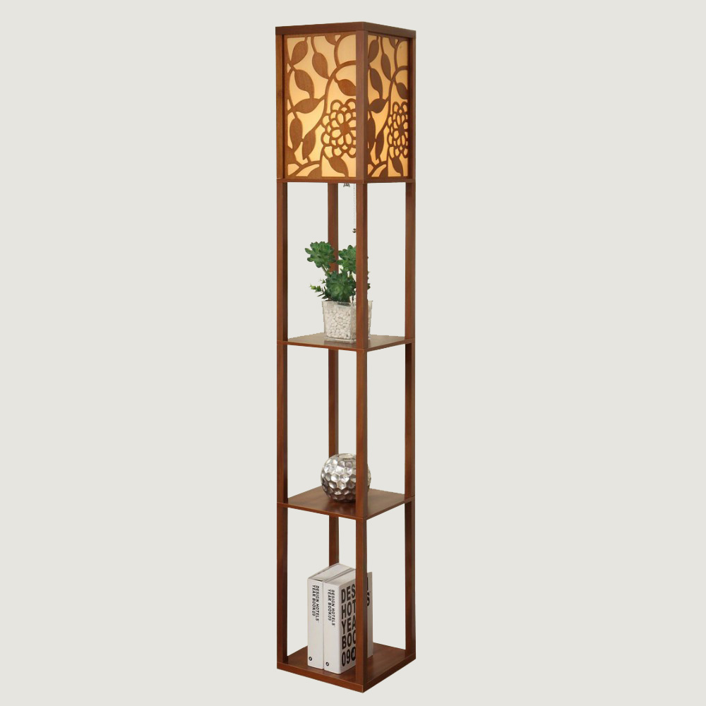 Chinese style modern minimalist wooden floor bedroom for Floor lamp with shelves