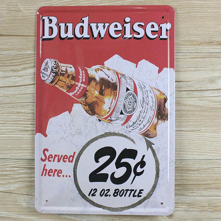 2015 New Budweiser Vintage plaques Retro decor Tin art craft Metal signs wall sticker bar home wall 20X30 CM Hot Sale GY-00002(China (Mainland))