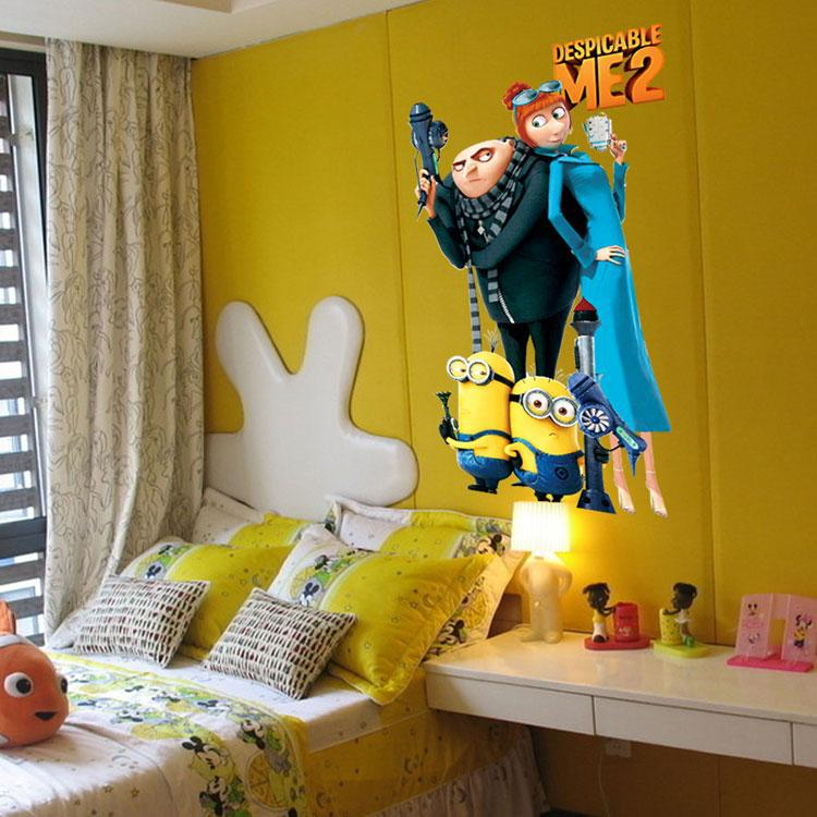 Cartoon Baby Nursery Minions Despicable Me Wall Stickers Decals For Kids Rooms Home Decor Wall