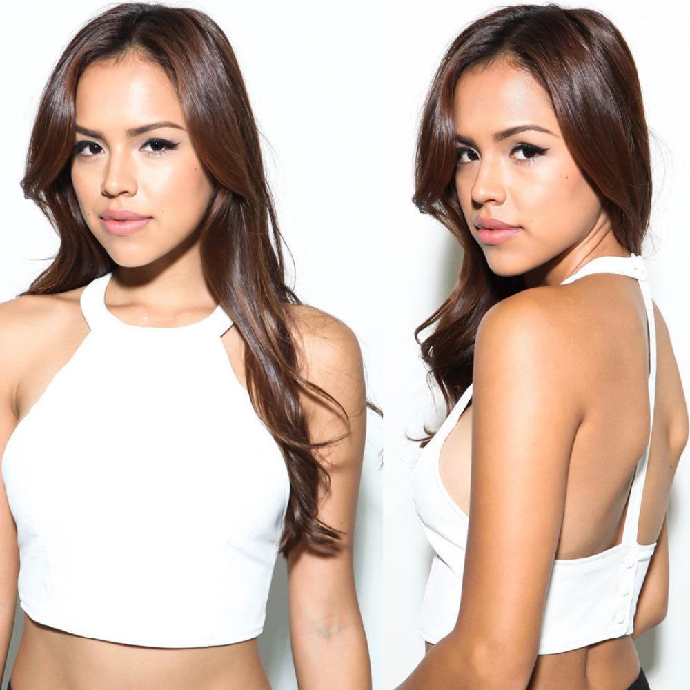 May&Maya Women's White Open Back Crop Cami Tank Tee Top Shirt Blouse Halter Neckline - Fashion store