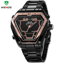 Fashion WEIDE Military Watches Illuminated LED Digital Analog Dual Time Mens Multi Functional Quartz Wristwatch 3ATM
