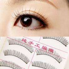 New 1set/10 Pairs Handmade Fake False Eyelash Lashes Natural Transparent Stem Black free shipping(China (Mainland))