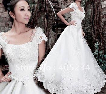 2011 Fashion short sleeve wedding dress/short sleeve dress/wedding gown