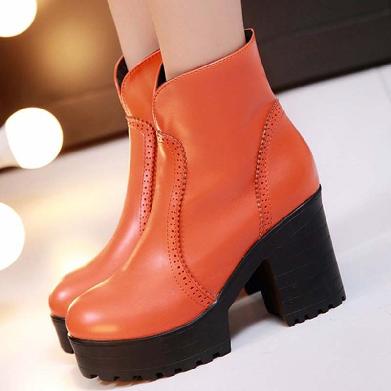 ENMAYER Newarrive Martin bootsThick high heels women pumps shallow mouth round toe platform shoes punk casual shoes Ankle boots <br><br>Aliexpress