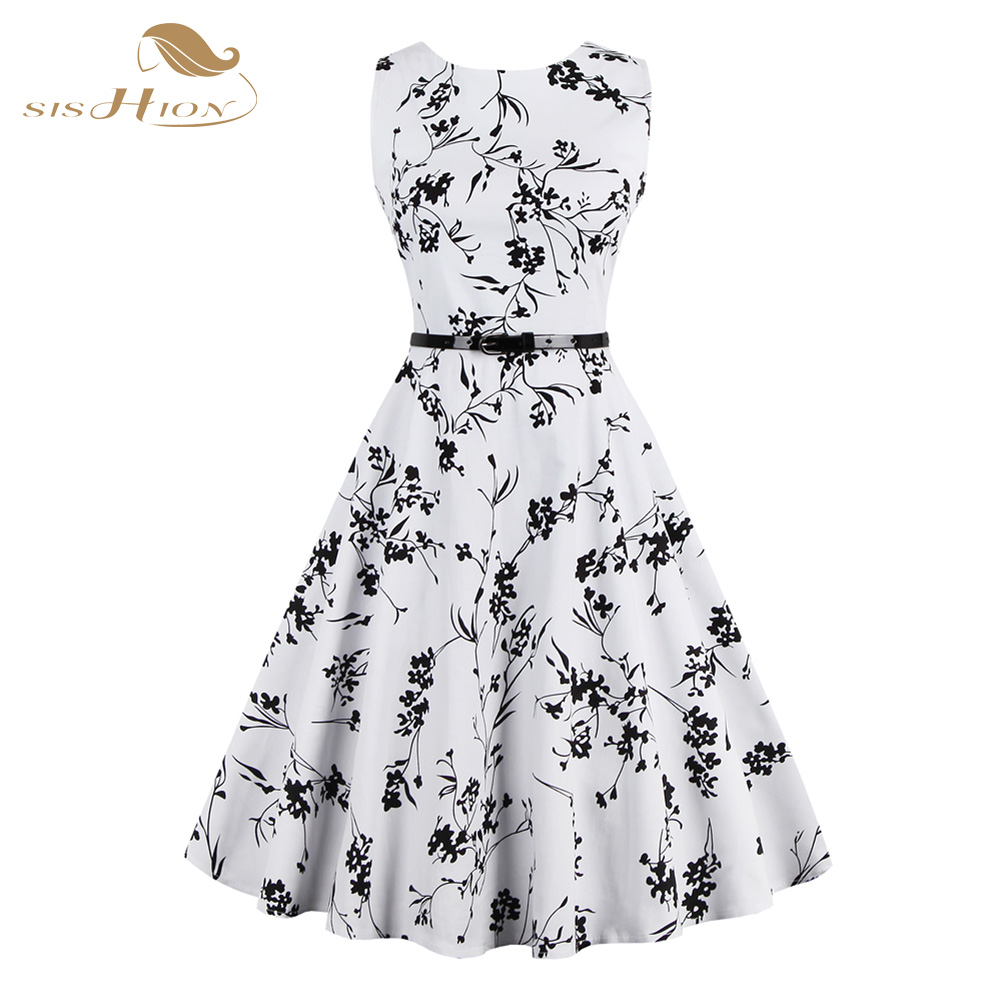 s 4xl plus size women summer dress white and black floral vintage dress 50s 60s rockabilly swing. Black Bedroom Furniture Sets. Home Design Ideas