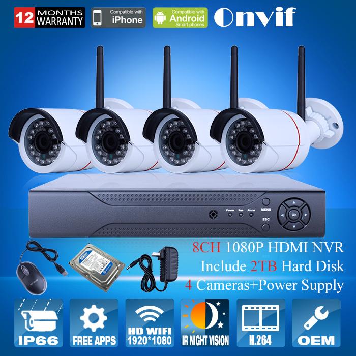 2MP HD Waterproof IR Wireless WIFI Network IP Camera 1080P Security Camera CCTV System+8CH H.264 NVR Video Recorder 2TB HDD(China (Mainland))