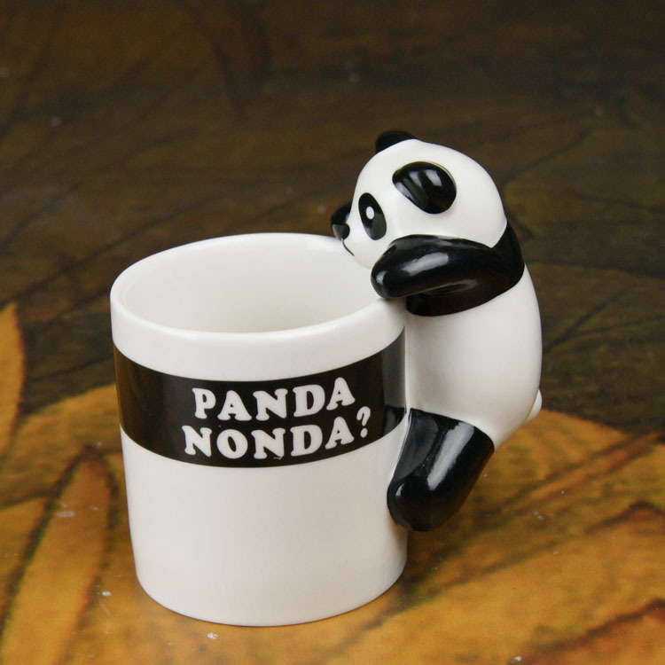 Lovely Panda Ceramic Milk Mug Creative Coffee Cup with Handle Novelty Pencil Holder Promotion Gift SH794(China (Mainland))