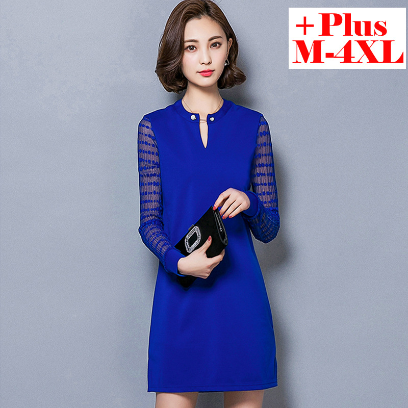 2016 new spring fat MM dress stitching lace shirt size long sleeved T-shirt in long shirt womanОдежда и ак�е��уары<br><br><br>Aliexpress