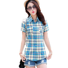 New Fashion summer style Women shirt short Plaid Blouses cotton checkered shirt female Flannel Slim tops plus size M-XXXL HS1275(China (Mainland))