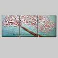 3 piece abstract blossom tree acrylic wall picture decorative knife flower painting modern on canvas wall