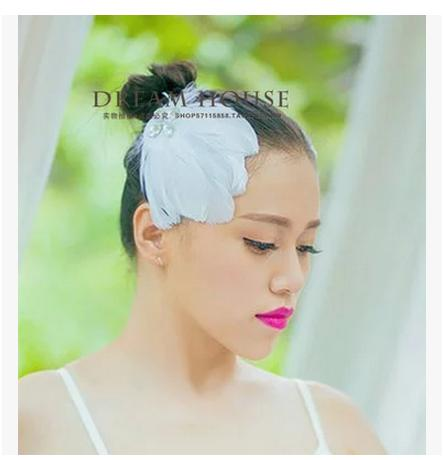 Classic style white feather crystal decoration hair clip little swan ballet dance stage equipped with accessories headwear(China (Mainland))