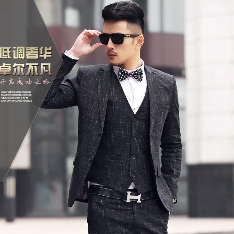 men wedding suit 2015 Business sportsman plaid suits, men\'s three ...