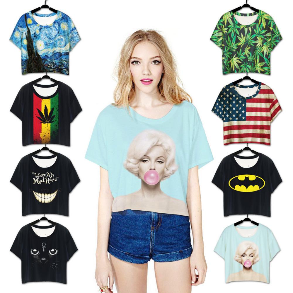 Fashion women harajuku Marilyn Monroe character print loose crop top woman ladies Short Sleeve T shirt Women Round Collar(China (Mainland))
