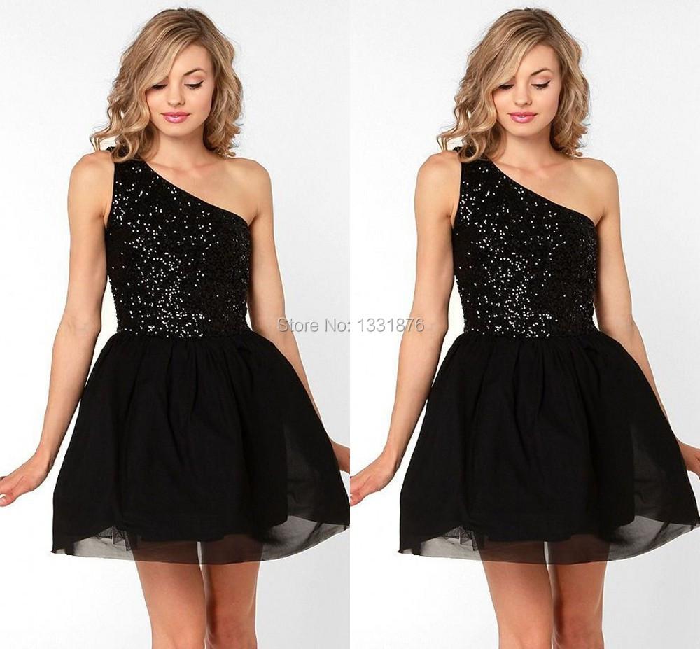 Brillante negro con lentejuelas vestido corto de baile para adolescentes un hombro sobre la rodilla del