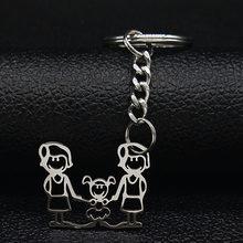 2019 Moda de Nova Família Chave Anéis De Aço Inoxidável Jóias Menino e Menina Cor Prata keychain Presentes chaveiros K7641B(China)