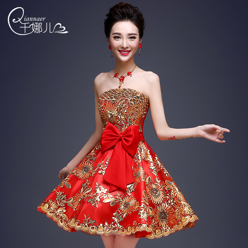 2015 Summer style Spring and summer banquet evening dress quality bride dress short design maternity dress female(China (Mainland))