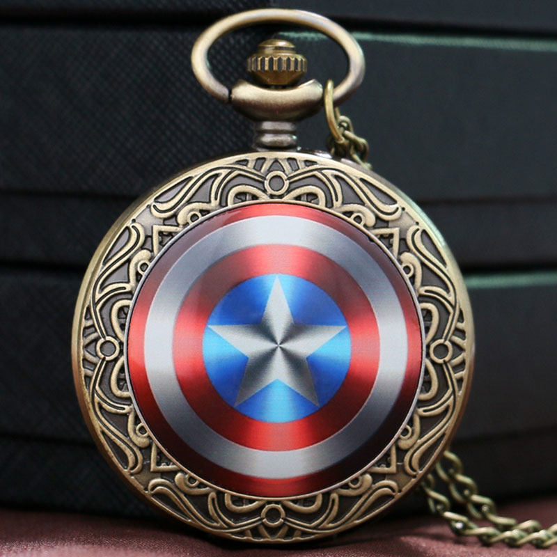 Captain America Shield Weapon The First Avenger Steve Rogers Pocket Watch Men Boys Gift Child P1435(China (Mainland))