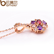 BAMOER Luxury 18K Gold Plated Pendant Necklace with Colorful Zircon For Women Party Jewelry JIN012