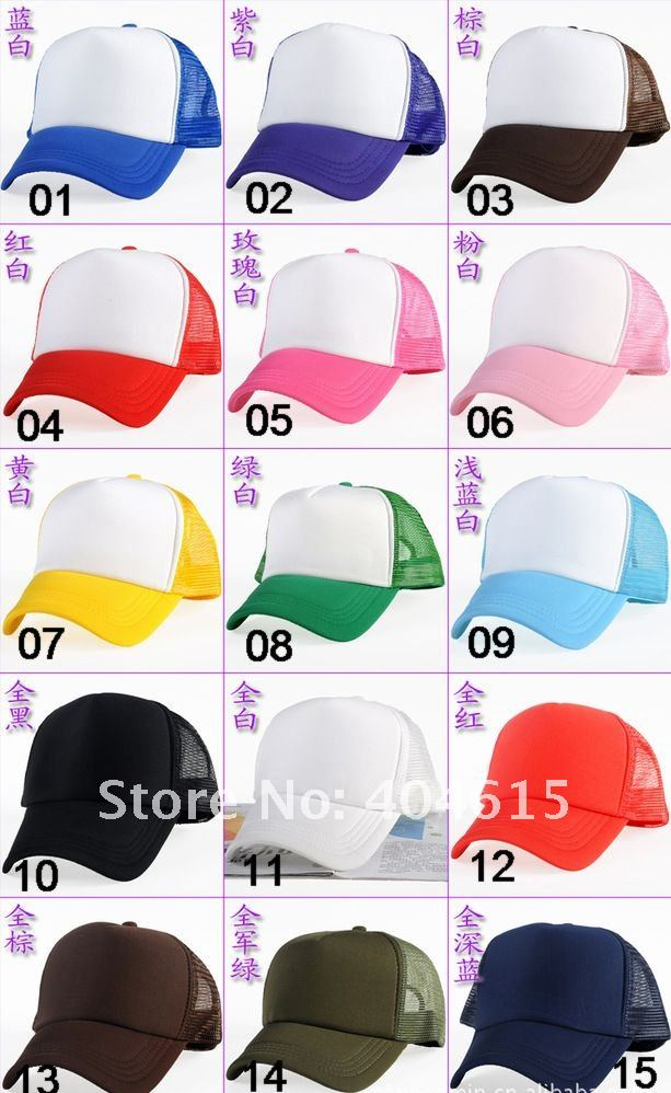 Top Quality Plain Hats Adjustable Mesh Pure Trucker Cap Promotion Adult Blank Baseball Caps Mixed Order 20 Colors Одежда и ак�е��уары<br><br><br>Aliexpress