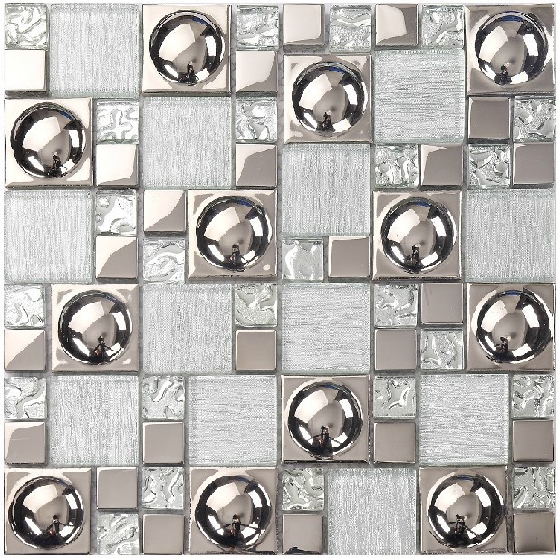 Silver glass tile backsplash kitchen ideas bathroom mirror Mosaic kitchen wall tiles ideas