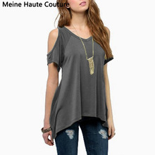 2016 Summer Style Hot Sale Women Off Shoulder Round Neck Short Sleeve Blouses Stretch Casual Loose Tops Shirts Plus Size(China (Mainland))