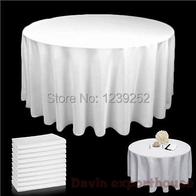 Free Ship via DHL/Fedex/TNT/EMS/UPS # 10PCS 90 INCH WHITE ROUND TABLECLOTH BANQUET WEDDING SATIN TABLE CLOTH(China (Mainland))