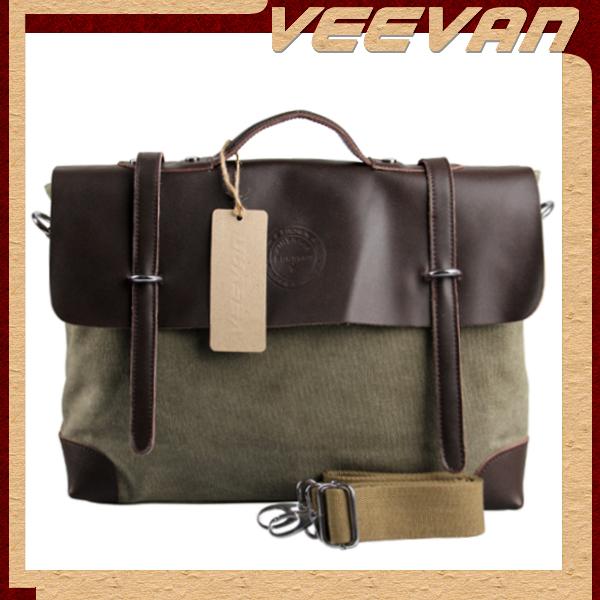 vintage men messenger bag 2014 new shoulder bag leather canvas men briefcase men handbag tote men's travel bag MBBSB00093(China (Mainland))