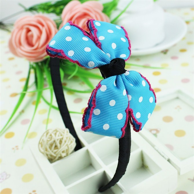 Blue white dots children kids baby girls hair accessories hair bands girl headwear bow Retail wholesale Boutique tiara GG-36-5(China (Mainland))