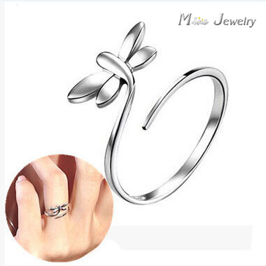 Sterling Silver 925 Rings For Women Sterling Silver dragon fly Open Ring Jewelry For Valentine's Day Gift anillo de plata anello(China (Mainland))