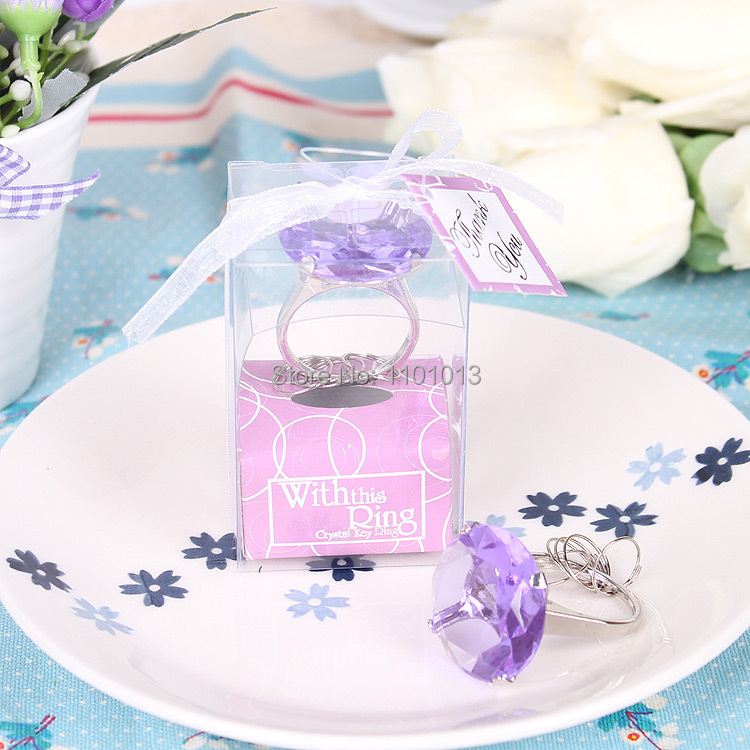 Free Shipping New Fashion Ring Diamond Keychain White Key Chain Wedding Guest Favors and Gifts 500pcs/lot
