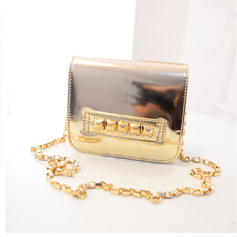 Women Rivet Patent Leather Bag Fashion Punk Cube Mini Bag Metalic Silver Gold Shoulder Bag Chain Party Bag(China (Mainland))