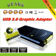 Wholesale Free/Drop shipping USB 2.0 to DVI/HDMI/VGA(2048x1152)17D1 Graphics Multi-Display Adapter Converter External Video Card(China (Mainland))