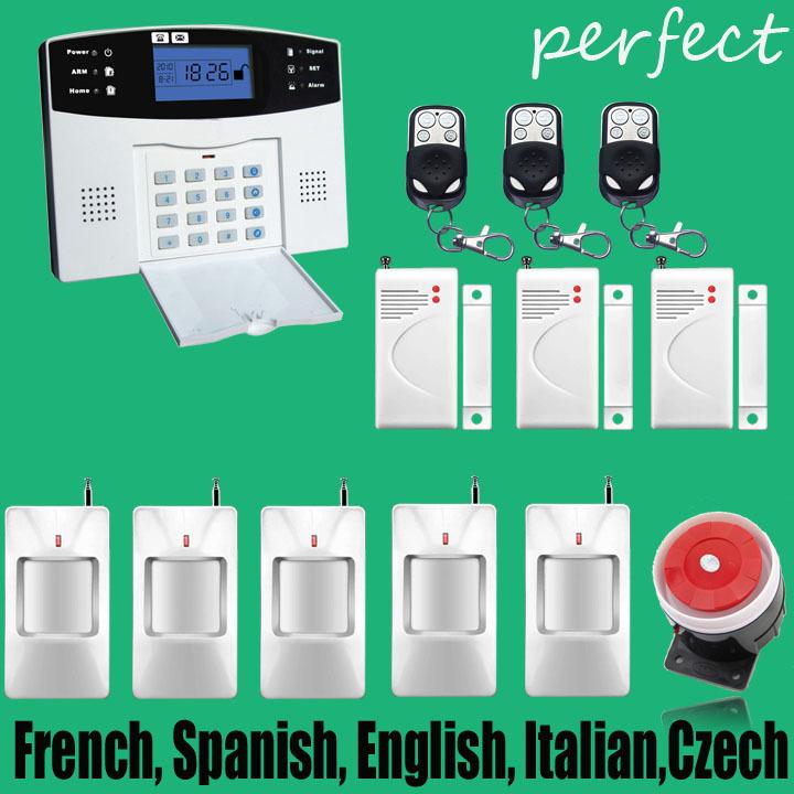 free shipping Intercom wireless GSM alarm system security home kits with French, Spanish, English, Italian,Czech language(China (Mainland))