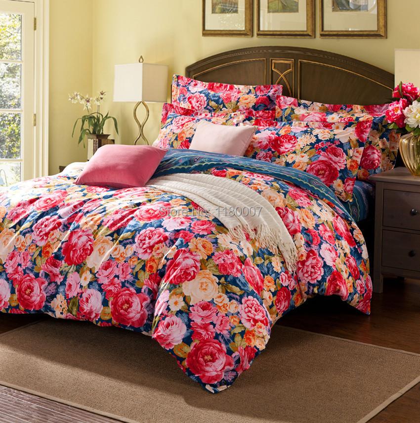 pivoine fleurs imprime 4 pcs literie set coton pour chambre pleine reine roi housse de. Black Bedroom Furniture Sets. Home Design Ideas