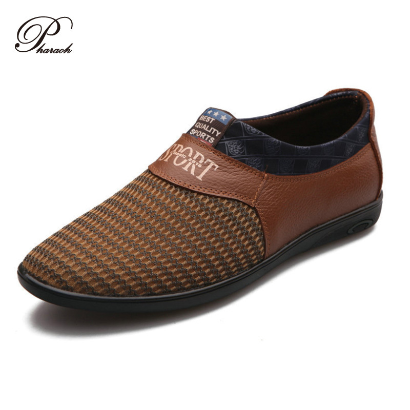 genuine leather mesh casual flat shoes flats slip on